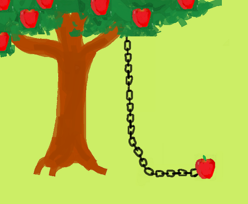 apple tree 2 w NO eyes & chain